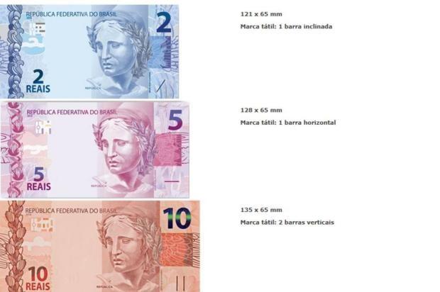 Novas cédulas de R$2 e R$5 começaram a circular segunda-feira(29)