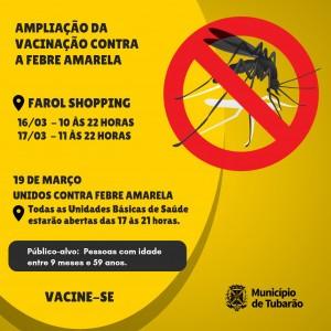 Febre amarela: vacinação terá horários especiais no Farol Shopping